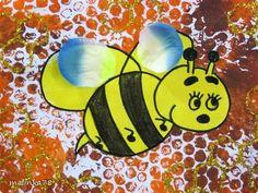 Хочу поделиться с вами вот такой идейкой, как оформить рисунок пчёлки.  Пчёлку сделали с детками 1,6 годика фото 1