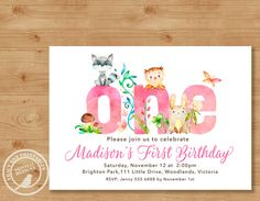 Woodland 1st Birthday Invitation Girl by TracyAnnPrintables