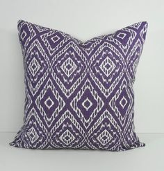 IKAT Decorative Pillow Cover, Purple and White, 18 x 18, 20 x 20, Robert Allen at Home Throw Pillow Cover, Cushion Cover