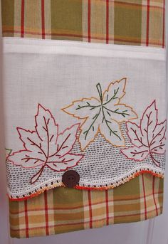 Autumn Leaves Tea Towel With a Vintage Touch - Vintage Recycled to Upcycled Homespun Home Decor on Etsy, $20.00