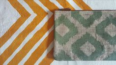 Green jud ikat printed clutch