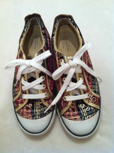 Coach Barrett Plaid Sneakers with Gold Trim Size 6 1/2 B
