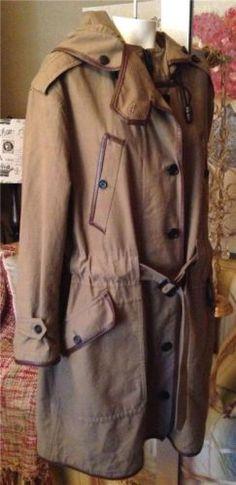 Auth $2595 Burberry Prorsum Leather Trim Parka Women Trench Coat Jacket 36 4 6 8 | eBay