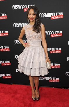 Pin for Later: 113 Reasons Why Zoe Saldana's Style Is Out of This World  Her sweet Elie Saab Couture fit-and-flare dress was a great red carpet choice for her Cosmopolitan For Latinas premiere issue party in May 2012.