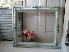 Large Ornate White and Green Frame Shabby by WillowsEndCottage, $115.00