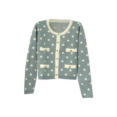 Sweet Dots Print Blue-grey Cardigan ($55) ❤ liked on Polyvore featuring tops, cardigans, outerwear, sweaters, blue polka dot cardigan, grey cardigan, blue cardigan, blue polka dot top and dot cardigan