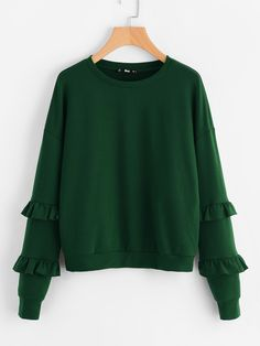 Shop Drop Shoulder Frilled Sleeve Sweatshirt online. SheIn offers Drop Shoulder Frilled Sleeve Sweatshirt & more to fit your fashionable needs.