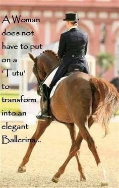 just a dressage coat/shadbelly, breeches, boots, gloves,  helmet. and always...her HORSE