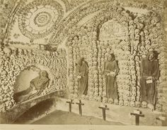 Skeletal Monks still standing guard in the Crypt of the Capuchins in Rome, photo from c1875