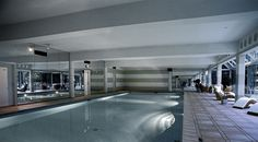 A pool located in the five-star grand hotel on the shores of Lake Lugano, Grand Hotel Villa Castagnola, Switzerland