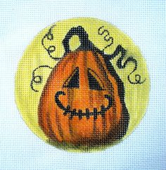 Spooky Jack O Lantern Needlepoint canvas by colors1 on Etsy
