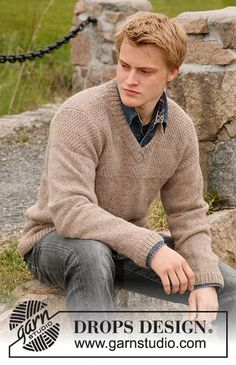 "Knitted DROPS jumper for men with yoke in seed st in ""Lima"" or DROPS ♥ You #3. Size S-XXXL."