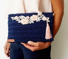 Blue with PINK Floral Embellishment Frame Envelope_Bag Closure /Ready to Ship Crochet Clutch, Crochet Purses, Crochet Art, Hand Crochet, Blue Bags, Sewing Clothes, Crochet Projects, Elsa, Pink