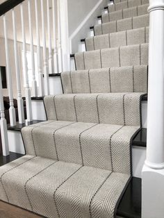 We are the carpet and rug experts in Boston. We will custom fabricate stair runners, area rugs and hall runners to fit your home perfectly. Carpet Staircase, Staircase Runner, House Staircase, Staircase Remodel, Staircase Makeover, Staircase Design, Stair Runners, Stairs With Carpet Runner, Striped Carpet Stairs