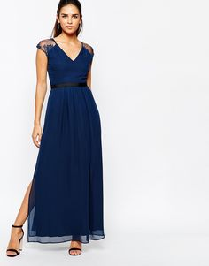 Elise Ryan Maxi Dress With Open Lace Back And Contrast Waistband - $105