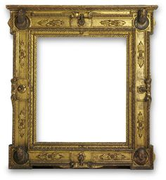 Carved, water gilded and painted cassetta frame with extended corners. V Collections.