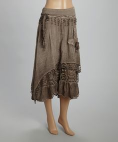 Look at this Brown Lace Tie-Waist Skirt on #zulily today!