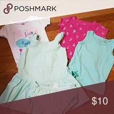 18M Girl Bundle 18M Girl Bundle  1 short sleeve PJ T carter's  1 Pink with silver paisley short-sleeved shirt carter's  1 light green tank top with lace back unknown brand 1 Gymboree light green dress with diaper bloomers Gymboree Shirts & Tops