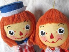 Vintage 1960s Raggedy Ann And Andy Christmas Ornaments. $9.99, via Etsy.