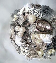Great glamour sparkle romantic retro lace silver grey bride handmade wedding brooch bouquet Luxury handmade broochbouquets Made in Poland