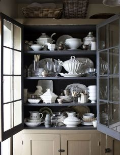 Charcoal painted interior, collection of white dishes China Storage, Dish Storage, Interior Paint, Interior Design, Interior Styling, White Dishes, Paint Furniture, Furniture Makeover, Furniture Design