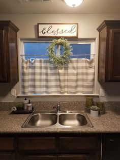 My farmhouse inspired kitchen window. - My farmhouse inspired kitchen window. My farmhouse inspired kitchen window. Farmhouse Kitchen Decor, Home Decor Kitchen, Home Kitchens, Diy Home Decor, Kitchen Window Decor, Modern Farmhouse, Kitchen Window Curtains, Kitchen Windows, Country Farmhouse Decor