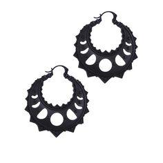 Lunar Crescent hoepel oorbellen zwart - Gothic Metal