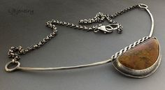 Tumblr Steriling silver necklace with sunburst jasper by LjBjewelry