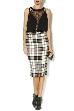 Plaid high waisted pencil skirt with two front pockets