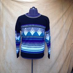 """Vintage 1980s Mens Graphic Black Diamond Sweater. This is a soft, slouchy v-neck sweater from the late 80s early 90s.   Details Size: unmarked Chest: 40"""" Shoulders: 21"""" Sleeve: 21"""" Length: 25"""" Waist: 30""""  Brand: unmarked, most likely acrylic Color: Black, White, Teal, Purple & Grey"""