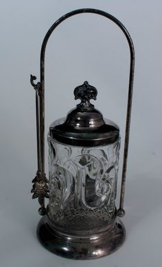 Vintage Antique Old Victorian Meriden Pickle Castor Jar Silver Plate Tongs RARE.