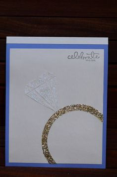 Engagement card Huge diamond ring as focus
