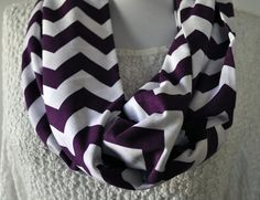 NEW Purple Chevron Infinity Scarf in Soft Jersey Knit Monogram Bridesmaid Gift Scarves via Etsy