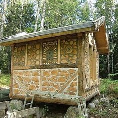 Cordwood shed - i like the different patterns - a magical little building!