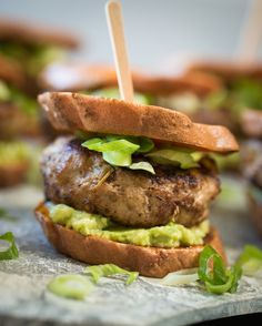 Sweet Potato Sliders – Start football season with the perfect kick of spicy green chili and lean turkey sliders. For a party, stick a toothpick or short skewer in each one for easy serving.