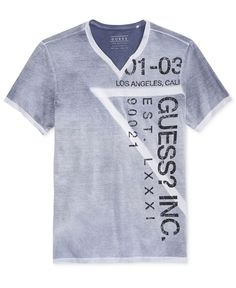 5aba99536 GUESS Men's Wrap-Around Graphic-Print Logo Split-Neck T-Shirt & Reviews -  T-Shirts - Men - Macy's