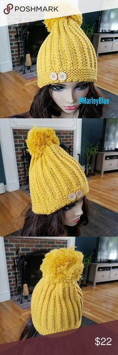 🎅🏻Mustard Knit Hat Super cute knit mustard color that with matching string pompom. Two buttons on front. New retail item. Bundle and save 20%! Accessories Hats