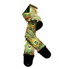 Colorful Peacock Feather Handmade Guitar Strap Green Gold Blue Brown | Coolstraps - Music/Instruments on ArtFire