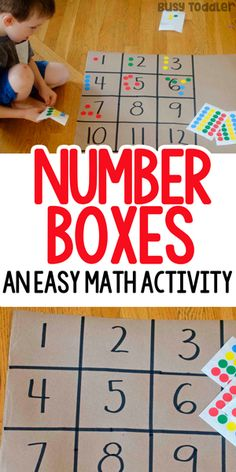 Math Activity: Number Boxes Preschool Math Activity: Number Boxes - a quick and easy math activity!Preschool Math Activity: Number Boxes - a quick and easy math activity! Preschool Learning Activities, Preschool Lessons, Preschool Classroom, Fun Learning, Toddler Preschool, Numbers For Preschool, Counting Activities, Preschool Activities At Home, Preschool Science