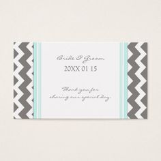 Grey Blue Chevron Wedding Favor Tags