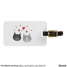 Cute Black and Gray Cats, with Hearts. Tag For Luggage