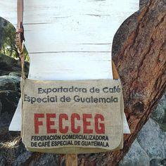 Guatemala Coffee Burlap Messenger Hipster Bag Repurposed