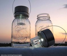 Solar lights for the garden made from old Mason jars