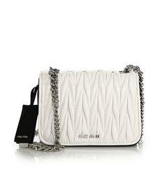 Miu Miu Two-Tone Matelasse Leather Crossbody Bag Bianco  bags 2c8aa1b44ab54