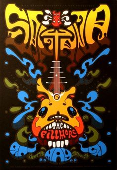 Santana at the Fillmore. this is a very style poster. the smooth curves and graffiti feeling fonts combined with the colors really add to that feeling Rock Posters, Band Posters, Music Posters, Vintage Concert Posters, Vintage Posters, Poster Retro, Rock And Roll Bands, Kunst Poster, Hippie Art