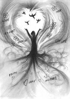 Rooted in Jesus! Prophetic charcoal artwork by Dion James Raath Roots, Charcoal, Celestial, Artwork, Work Of Art, Auguste Rodin Artwork, Artworks, Illustrators