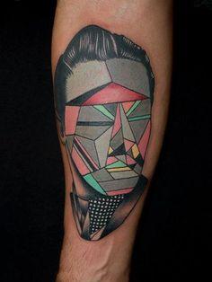 Geometric Bust Tattoo by Pietro Sedda at The Saint Mariner / Pietro Sedda in Milan, Italy