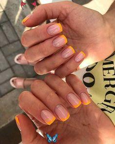 christmas nails design  <br> Nails Yellow, Pink Nails, My Nails, Pretty Nail Colors, Pretty Nail Designs, Nail Tip Designs, Elegant Nail Designs, Simple Nail Art Designs, Short Nail Designs