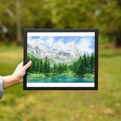 Mountain lake watercolor Green and turquoise art INSTANT   Etsy Watercolor Landscape, Watercolor Paintings, Original Artwork, Original Paintings, Turquoise Art, Gift Of Time, Mountain, Boutique, Green