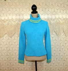 80s Turtleneck Sweater Small Womens Chenille by MagpieandOtis